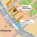 Оставить багаж здесь нельзя.Нужно на автобусе N1 доехать до пласа де эспана,рядом спуск в вокзал.Сдать багаж на вокзале,где аренда велосипедов.Перейдя дорогу,на автобусе N1 можно вернуться в аэропорт.