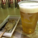 ビールに笹かま(牛タン入り)セットで¥700  ビール+¥100