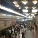 Photo taken at Станція «Позняки» by Aleksandra L. on 8/27/2013
