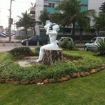 Photo taken at Estatua Pelada do Barra Beach by Leilah M. on 10/28/2011