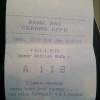 Photo taken at Bank Negara Indonesia (BNI) Cepu by Luthfia P. on 10/17/2014