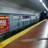 Photo taken at Estacion Av. La Plata [Línea E] by Karina O. on 4/8/2014