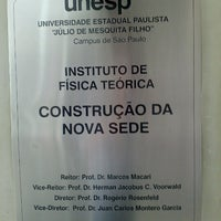 Photo taken at Instituto de Física Teórica da UNESP by Nelson Takashi Y. on 10/30/2012