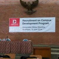 Photo taken at Universitas Katolik Widya Mandala by Karina K. on 6/12/2014