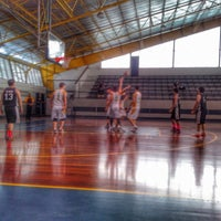 Photo taken at Xavier School Wooden Court by Lester C. on 8/24/2014