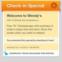 Photo taken at Wendy's by David on 11/15/2012