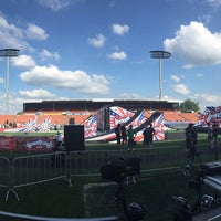 Photo taken at Waikato Stadium by Leisa E. on 1/30/2015