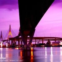 Photo taken at Bhumibol 1 Bridge by Aquarius I. on 10/3/2012