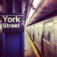 Photo taken at MTA Subway - York St (F) by Ken Y. on 2/4/2013
