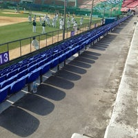 Photo taken at Mudeung Baseball Stadium by Kim R. on 4/9/2013