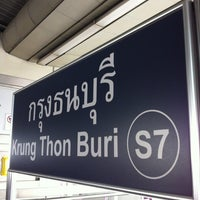 Photo taken at BTS Krung Thon Buri (S7) by Pongpun M. on 1/11/2013