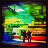Photo taken at Stamford Transportation Center Bus/Train (STM) Metro North & Amtrak by chuckdafonk F. on 4/21/2013