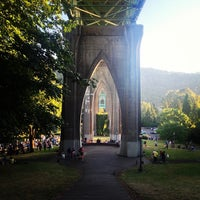 Photo taken at Cathedral Park by Zac W. on 7/28/2013