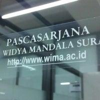 Photo taken at Pascasarjana Universitas Katolik Widya Mandala by Satria Andy K. on 1/28/2014