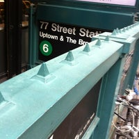 Photo taken at MTA Subway - 77th St (6) by Matthew C. on 4/18/2012
