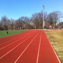 Photo taken at McCarren Park Track by Kristi E. on 3/5/2013