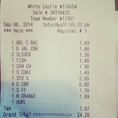 Photo taken at White Castle by Richard V. on 9/7/2014