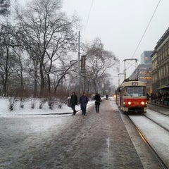Photo taken at Karlovo náměstí (tram, bus) by Jenda Š. on 1/15/2013