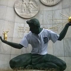 Photo taken at Spirit of Detroit by Lauren M. on 10/27/2012