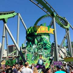 Photo taken at The Incredible Hulk Coaster by Laura P. on 3/13/2013