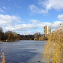 Photo taken at Lietzensee by Christoph D. on 3/3/2013