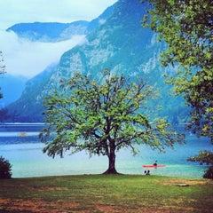 Photo taken at Bohinjsko jezero (Bohinj Lake) by Julia T. on 4/12/2013