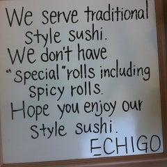 Photo taken at Echigo Sushi by David K. on 4/17/2013