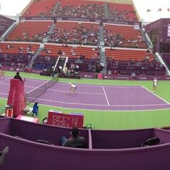 Photo taken at Khalifa International Tennis & Squash Complex by H Kemal E. on 2/17/2013