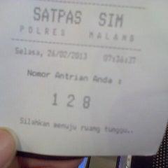 Photo taken at SATLANTAS Polres Malang by Totok S. on 2/26/2013