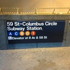 Photo taken at MTA Subway - 59th St/Columbus Circle (A/B/C/D/1) by Kate T. on 12/24/2012