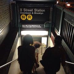 Photo taken at MTA Subway - 8th St/NYU (N/R) by Keilon L. on 8/10/2013