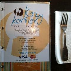 Photo taken at Kozy Corner Thai Cuisine by Lin-duhh!! . on 7/10/2013