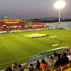 Photo taken at 광양축구전용구장 (Gwangyang Football Stadium) by WS L. on 9/9/2015