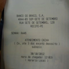 Photo taken at Banco do Brasil by Fabio F. on 10/30/2012