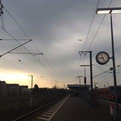 Photo taken at Bahnhof Frankfurt-Niederrad by Hande E. on 3/7/2014