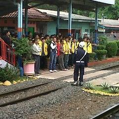 Photo taken at Stasiun Pondok Cina by Ica Z. on 1/4/2013