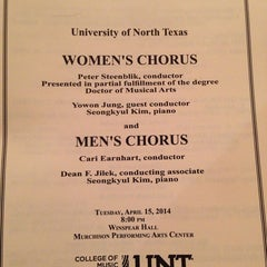 Photo taken at UNT Murchison Performing Arts Center by Sam M. on 4/16/2014