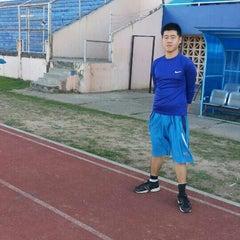 Photo taken at Stadion Pahoman by Yan Arta W. on 7/17/2014