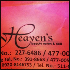 Photo taken at Heaven's Beauty Salon & Spa by Rei Sharmaine P. on 4/4/2013
