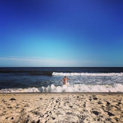 Photo taken at Fire Island Pines Beach by Jake L. on 8/14/2015
