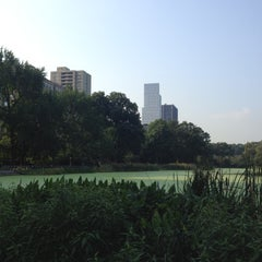 Photo taken at Central Park - Harlem Meer by Gloria on 9/7/2012