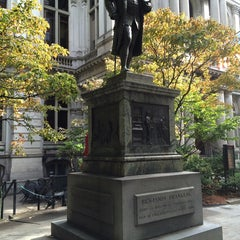 Photo taken at Benjamin Franklin Statue by Chris C. on 9/21/2014