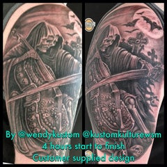 Photo taken at Kustom Kulture Tattoo Studio by Wendy B. on 10/7/2014