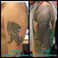 Photo taken at Kustom Kulture Tattoo Studio by Wendy B. on 12/14/2014
