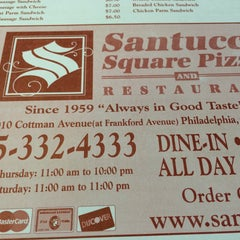 Photo taken at Santucci Square Pizza by Marc P. on 5/30/2015