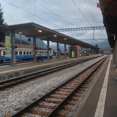 Photo taken at Bahnhof Gstaad by Nicolas B. on 10/8/2013