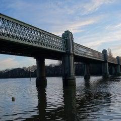 Photo taken at Kew Railway Bridge by Alan B. on 1/21/2014