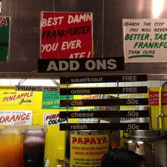 Photo taken at Gray's Papaya by Ryan R. on 10/12/2012