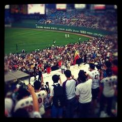 Photo taken at 사직야구장 (Sajik Baseball Stadium) by daw S. on 8/18/2012