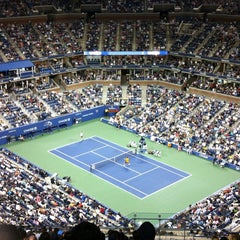 Photo taken at Arthur Ashe Stadium - USTA Billie Jean King National Tennis Center by Glad A. on 9/4/2012